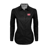 Ladies Black Twill Button Down Long Sleeve-Interlocking W Mountaineers - Official Logo