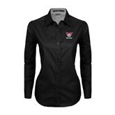 Ladies Black Twill Button Down Long Sleeve-W Western
