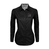 Ladies Black Twill Button Down Long Sleeve-Mad Jack Mountaineers