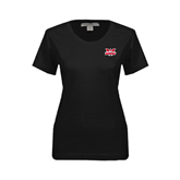 Ladies Black Stretch Scoop Neck-Interlocking W Mountaineers - Official Logo