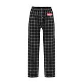 Black/Grey Flannel Pajama Pant-Interlocking W Mountaineers - Official Logo