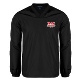 V Neck Black Raglan Windshirt-Interlocking W Mountaineers - Official Logo