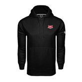 Under Armour Black Performance Sweats Team Hoodie-Interlocking W Mountaineers - Official Logo