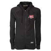 Ladies Under Armour Black Varsity Full Zip Hoodie-Interlocking W Mountaineers - Official Logo