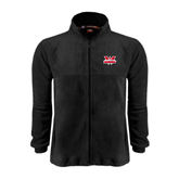 Fleece Full Zip Black Jacket-Interlocking W Mountaineers - Official Logo