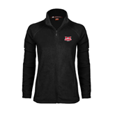 Ladies Fleece Full Zip Black Jacket-Interlocking W Mountaineers - Official Logo