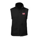 Fleece Full Zip Black Vest-Interlocking W Mountaineers - Official Logo