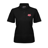 Ladies Black Dry Mesh Polo-Interlocking W Mountaineers - Official Logo