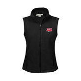 Ladies Fleece Full Zip Black Vest-Interlocking W Mountaineers - Official Logo