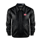 Black Leather Bomber Jacket-Interlocking W Mountaineers - Official Logo