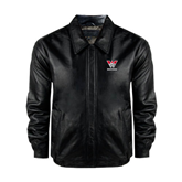 Black Leather Bomber Jacket-W Western