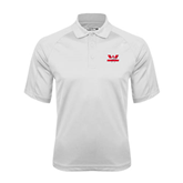 White Textured Saddle Shoulder Polo-Interlocking W Mountaineers - Official Logo