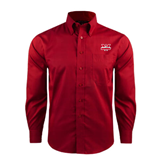 Red House Red Long Sleeve Shirt-Interlocking W Mountaineers - Official Logo