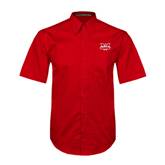 Red Twill Button Down Short Sleeve-Interlocking W Mountaineers - Official Logo