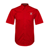 Red Twill Button Down Short Sleeve-W Western
