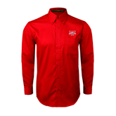 Red Twill Button Down Long Sleeve-Interlocking W Mountaineers - Official Logo