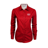 Ladies Red Twill Button Down Long Sleeve-Interlocking W Mountaineers - Official Logo