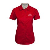 Ladies Red Twill Button Up Short Sleeve-Interlocking W Mountaineers - Official Logo