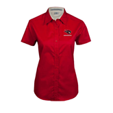 Ladies Red Twill Button Up Short Sleeve-Mad Jack Mountaineers