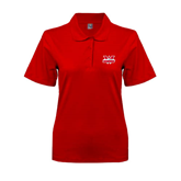 Ladies Easycare Red Pique Polo-Interlocking W Mountaineers - Official Logo