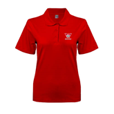 Ladies Easycare Red Pique Polo-W Western