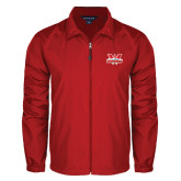 Full Zip Red Wind Jacket-Interlocking W Mountaineers - Official Logo
