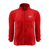 Fleece Full Zip Red Jacket-Interlocking W Mountaineers - Official Logo