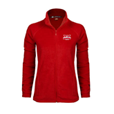 Ladies Fleece Full Zip Red Jacket-Interlocking W Mountaineers - Official Logo