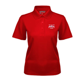 Ladies Red Dry Mesh Polo-Interlocking W Mountaineers - Official Logo