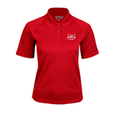 Ladies Red Textured Saddle Shoulder Polo-Interlocking W Mountaineers - Official Logo