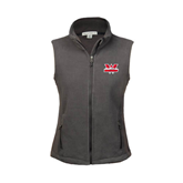 Ladies Fleece Full Zip Charcoal Vest-Interlocking W Mountaineers - Official Logo