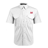 White Short Sleeve Performance Fishing Shirt-Interlocking W Mountaineers - Official Logo