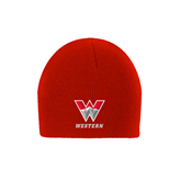 Red Knit Beanie-W Western