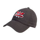 Charcoal Twill Unstructured Low Profile Hat-Interlocking W Mountaineers - Official Logo