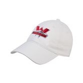 White Twill Unstructured Low Profile Hat-Interlocking W Mountaineers - Official Logo