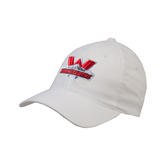 White OttoFlex Unstructured Low Profile Hat-Interlocking W Mountaineers - Official Logo