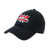 Black Twill Unstructured Low Profile Hat-Interlocking W Mountaineers - Official Logo