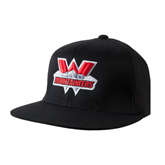 Black OttoFlex Flat Bill Pro Style Hat-Interlocking W Mountaineers - Official Logo