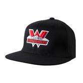 Black OttoFlex Flat Bill Pro Style Hat-Interlocking W Mountaineers - Official Logo