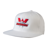 White OttoFlex Flat Bill Pro Style Hat-Interlocking W Mountaineers - Official Logo