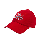 Red Twill Unstructured Low Profile Hat-Interlocking W Mountaineers - Official Logo