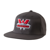 Charcoal Flexfit Flat Bill Pro Style Hat-Interlocking W Mountaineers - Official Logo