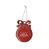 Red Bulb Ornament-Interlocking W Mountaineers - Official Logo Engrave