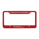 Metal Red License Plate Frame-Mountaineers Engrave