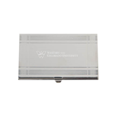 Crosshatch Silver Business Card Holder-W Western State Colorado University Engrave