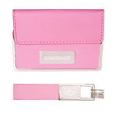 Business Card Case and Key Ring Set Pink-Mountaineers Engrave