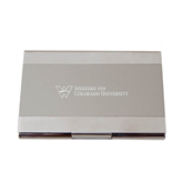 Dual Texture Silver Business Card Holder-W Western State Colorado University Engrave