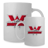 Full Color White Mug 15oz-Interlocking W Mountaineers - Official Logo