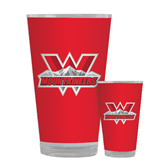 Full Color Glass 17oz-Interlocking W Mountaineers - Official Logo