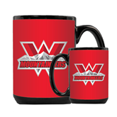 Full Color Black Mug 15oz-Interlocking W Mountaineers - Official Logo